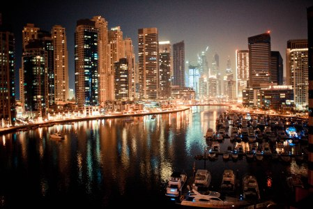 Dubai Marina Yacht at Night